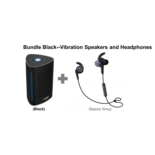 UJOY Bluetooth Vibration Speakers and in-ear headphones Bundle--Black