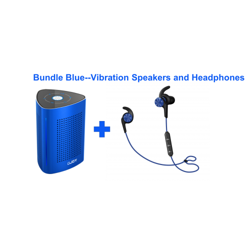 UJOY Bluetooth Vibration Speakers and in-ear headphones Bundle--Blue