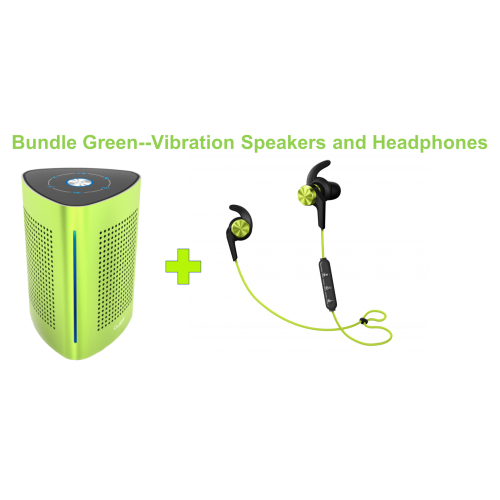 UJOY Bluetooth Vibration Speakers and in-ear headphones Bundle--Green